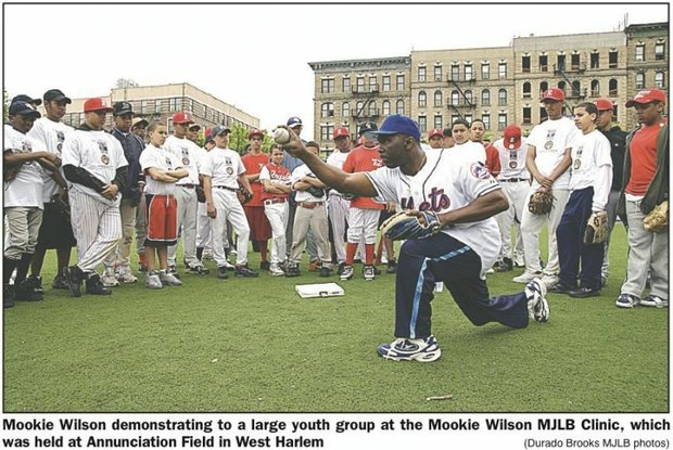 Mookie Wilson batting for Metropolitan Jr. Baseball League