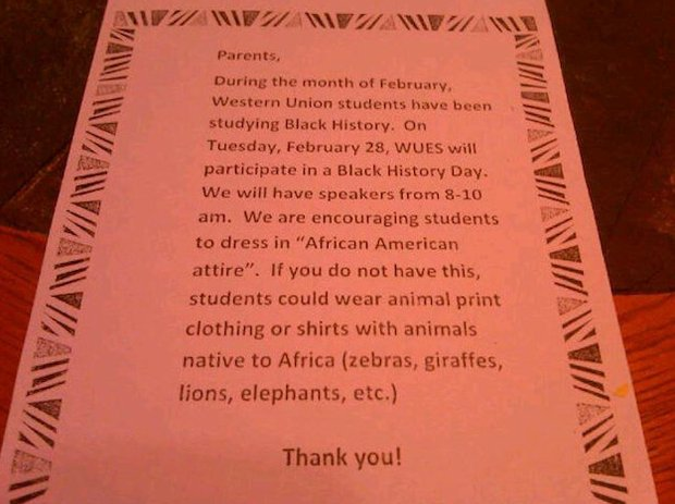 School's Black History Month 'animal attire' letter causing an uproar