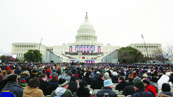 WASHINGTON, D.C.--An estimated 800,000 to 1 million people packed the National Mall outside the U.S....