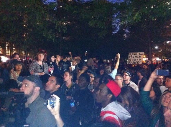 Hundreds showed up in the wee hours of the morning at Zuccotti Park, the home...