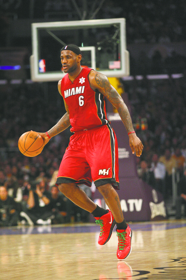 LeBron James #6 of the Miami Heat during the game.  The Miami Heat defeated the Los Angeles Lakers by the final score of 96-80 at Staples Center in downtown Los Angeles, CA.