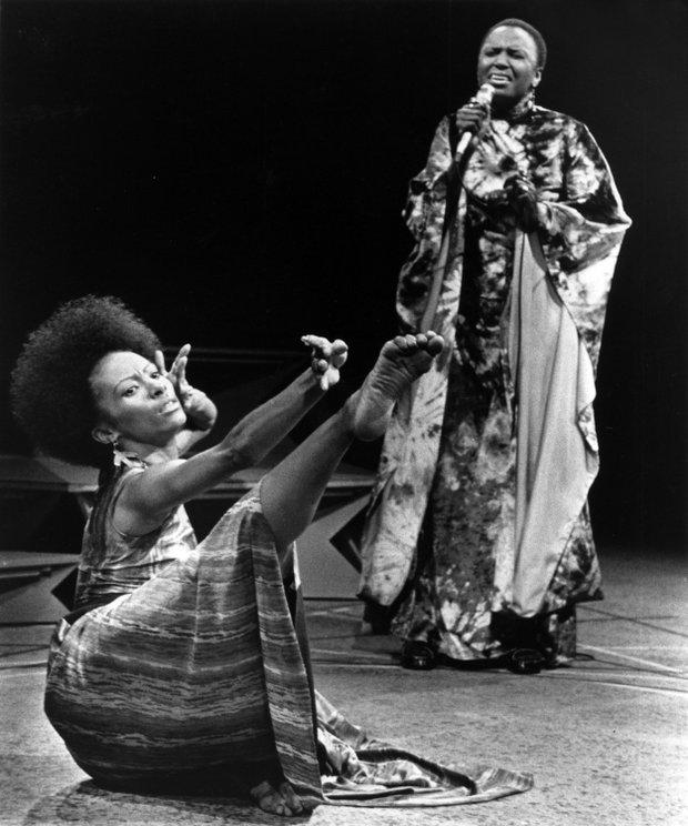 Miriam Makeba sings African songs as Judy Dearing dance.