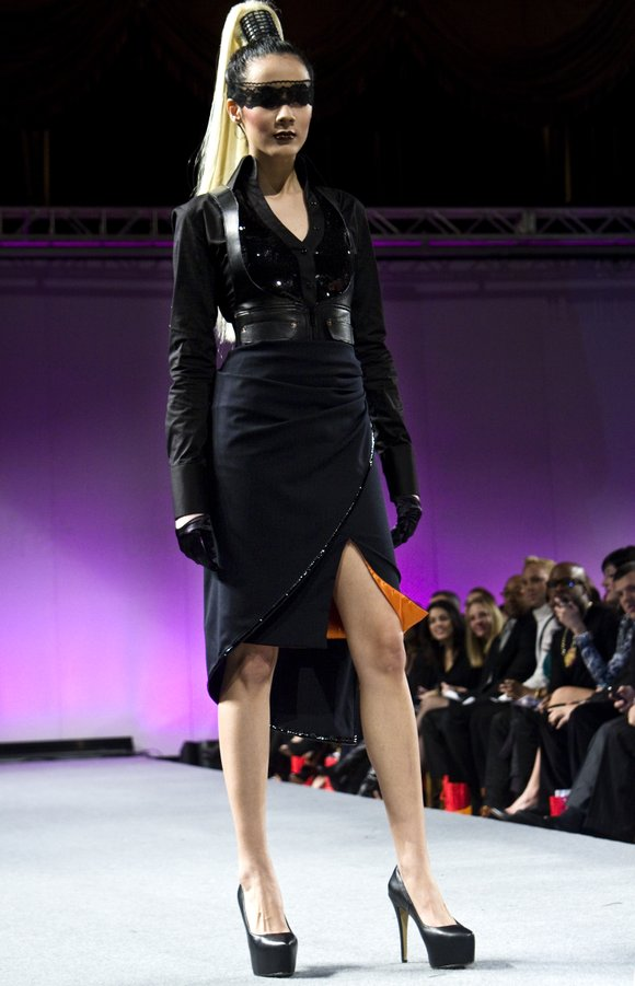 Designer Edwing D'Angelo unveiled his fall 2012 collection on Feb. 19 at the Waldorf-Astoria hotel's...