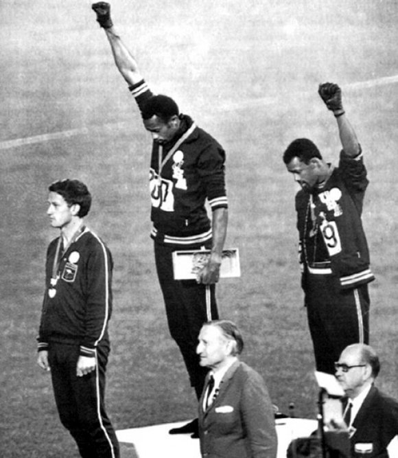 On Oct. 16, 1968, at the Olympic medals ceremony in Mexico City, American athletes Tommie...