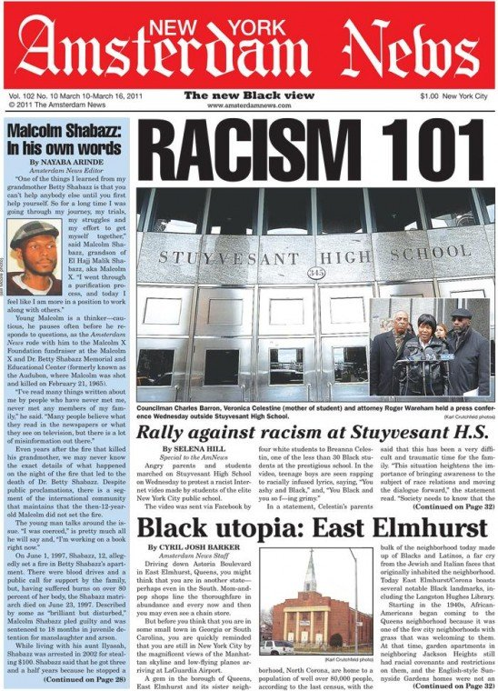 Angry parents and students marched on Stuyvesant High School on Wednesday to protest a racist...