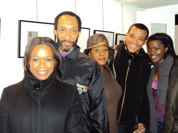 """Born Bad"" cast: L-R: Quincy Tyler Bernstine, Michael Rogers, Elain R. Graham, LeRoy McClain, Heather Alicia Simms in the lobby of the Soho Rep (Misani photo)"