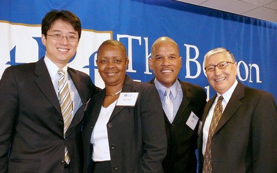 (From left): City Councilor-at-Large Sam Yoon, Boston Connects Inc. Interim Executive Director Shirley Carrington, WBUR-FM producer Jose Masso,...