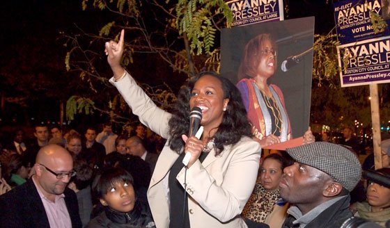At-large City Councilor Ayanna Pressley greets supporters gathered on Dorchester Avenue. Pressley topped the ticket in Tuesday's balloting...