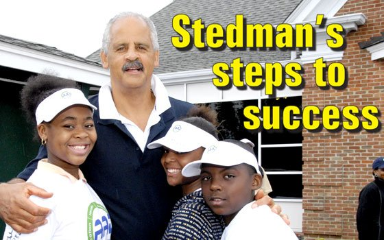 Athletes Against Drugs (AAD) Founder Stedman Graham is pictured with local participants of his youth empowerment program. (Larry...