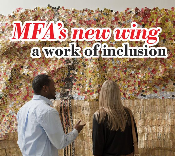 People viewing Black River, 2009, El Anatsui (detail). (Photo courtesy of the Museum of Fine Arts, Boston) ...