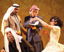 "Fayez Kazak, the Mullah, and Carole Abboud, the Lady, in ""The Speaker's Progress."""