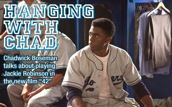 Actor Chadwick Boseman portrays Jackie Robinson in...