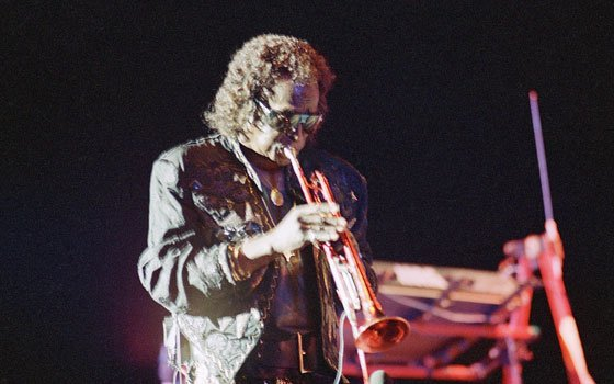 Jazz trumpeter Miles Davis performs in concert in the old Roman Amphitheater in Caesarea, north of Tel Aviv,...