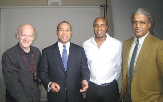 "(From left): Director Timothy Greenfield-Sanders, Gov. Deval Patrick, producer Tommy Walker and journalist Elvis Mitchell pose for a photo at the State House in Boston before filming Patrick's interview for the documentary ""The Black List: Volume Two,"" which airs on Feb. 26 at 8 p.m. on HBO."