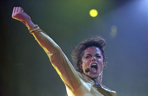 Pop superstar Michael Jackson performs in Tel Aviv, Israel, in front of some 60,000 fans on Sept. 19,...