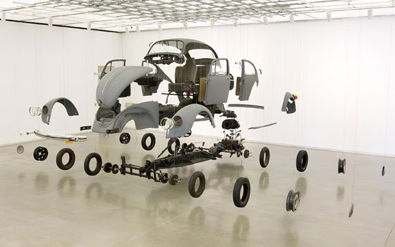 "Damián Ortega's ""Cosmic Thing,"" a disassembled Volkswagen Beetle. The mammoth work commands the gallery at the Institute of..."