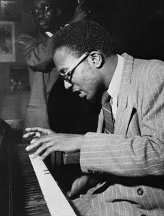 Thelonious Monk is seen at Hall Overton's loft in New York in this 1959 photo provided by the Center for Creative Photography.