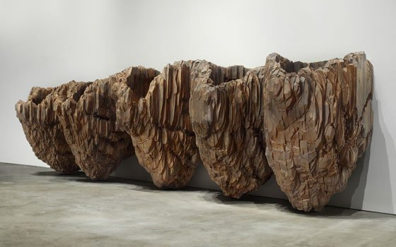 Krasavica II, 1998-2001, cedar and graphite, 72 x 264 x 48 in. Courtesy of the artist and Galerie Lelong,...
