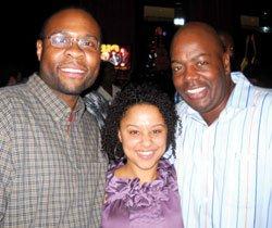 "Hot 97 Boston's Garfdigga (l), Shonte McDowell and ""Coach"" Willie Maye took in the Musiq Soulchild concert at Showcase Live Aug. 4."