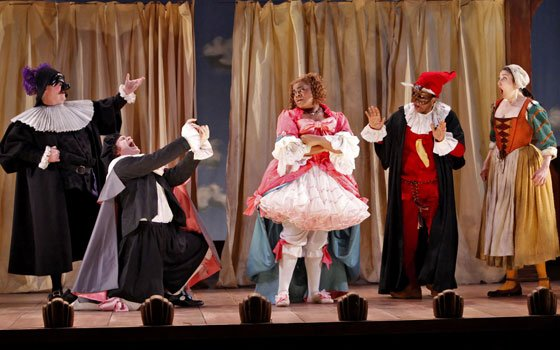 "A scene from the Yale Repertory Theatre production of the 18th-century masterpiece, ""The Servant Of..."