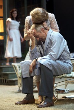 Dee Nelson as Sue Bayliss, Ken Cheeseman as Dr. Jim Bayliss, Diane Davis as Ann Deever, Michael Tisdale as George Deever, and Lee Aaron Rosen as Chris Keller in the Huntington Theatre Company's production of All My Sons, playing Jan. 8 - Feb. 7, 2010 at the B.U. Theatre Mainstage.