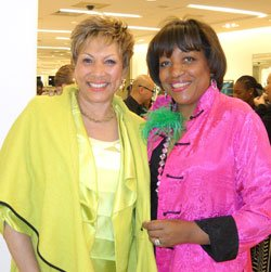 "The Links held its festive spring fashion event at Saks Fifth Avenue Friday, April 5. (L-R) Linda Michelle Baron of Long Island, N.Y., and Karen Holmes Ward, host and executive producer of WCVB-TV's ""CityLine."""