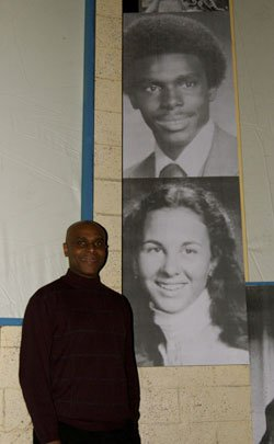 "Wesley Gafney on the set of ""Reflections of a Rock  Lobster"" in front of his 1980 Cumberland Rhode Island High School yearbook picture."