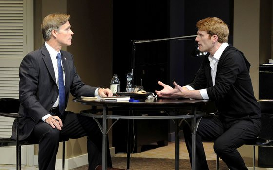 """Tom Nelis and Grant MacDermott in the Huntington Theatre Company's production of Christopher Shinn's """"Now or Later."""""""