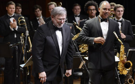 Retiring band director Tom Everett and Don Braden ('85) at the Sanders Theatre on Saturday, April...