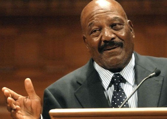 National Football League Hall of Famer Jim Brown addresses an audience on the campus of Williams College, in...