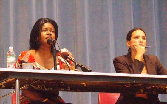 Incumbent state Sen. Dianne Wilkerson (left) speaks during a debate at English High School in Jamaica Plain as...
