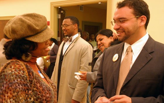 Education activist Kim Janey (left) chats with City Council candidate...