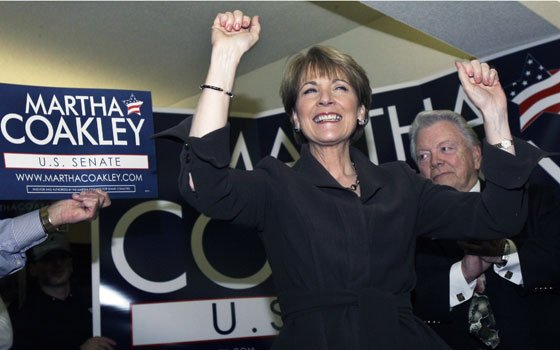 Democratic senatorial winner Attorney General Martha Coakley, gestured as she spoke to supporters and potential voters during a...