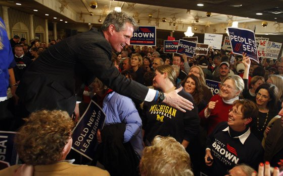 Massachusetts State Senator Scott Brown, R-Wrentham, greets supporters at a rally in Wrentham, Mass., Monday, Jan. 18, 2010. In...