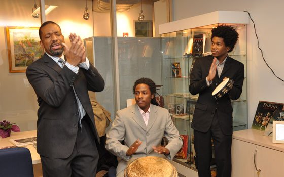 """Famed New Orleans jazz saxophonist and Berklee alum Donald Harrison (left), featured in """"When the Levees Broke,"""" who has..."""