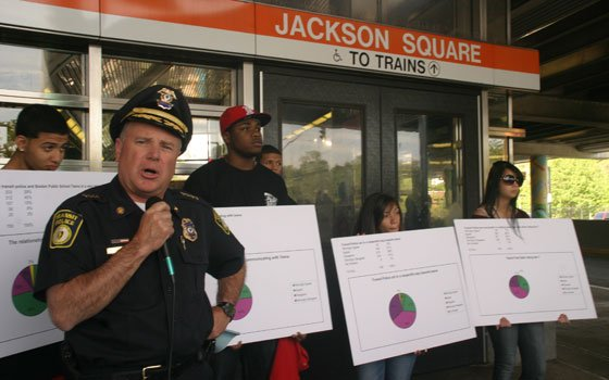 MBTA Police Chief Paul MacMillan says he will work with youth organizers to better relations between transit police...