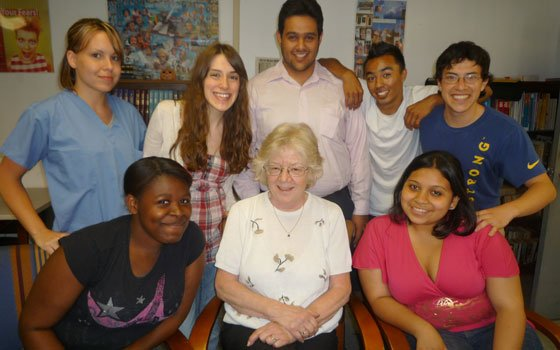 Susan Clark (front row, center) joins Choice Thru Education students and graduates at the agency's Chelsea headquarters. Pictured...