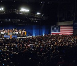 A crowd of about 15,000 gathered at the Hynes Convention Center on Saturday to hear President Barack Obama speak on behalf of Gov. Deval Patrick as he is fighting for re-election. With less than two weeks before the election, the governor's race is neck and neck.