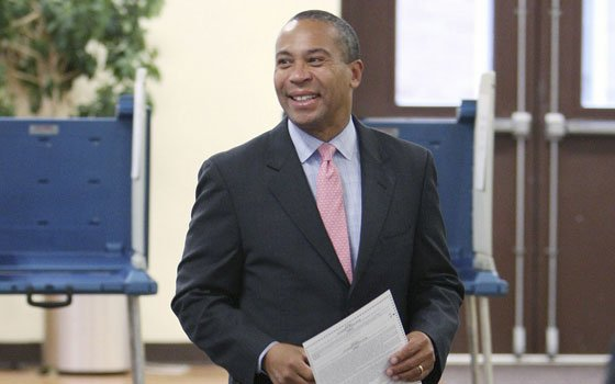In this Associated Press photograph, Gov. Deval Patrick is seen shortly before casting his ballot early Tuesday morning....