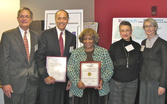 Staff members from Roxbury Community College (RCC) pose with the endorsement awards presented by the Massachusetts Life Science Education Consortium (MLSEC) for RCC's programs in biotechnology. Pictured (from l to r) are: Lance Hartford, executive director of MassBioEd Foundation; Terrence Gomes, president of RCC; Dr. Brenda Williams Mercomes, vice president of academic affairs at RCC; Dr. Kyrsis Rodriguez, professor of science and interim dean at RCC; Joan Wood, a senior vice president at Genzyme and MLSEC co-chair.