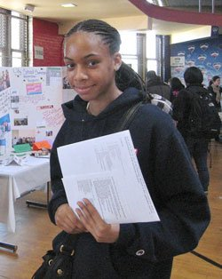 Ninth-grader Deidra created her first résumé and gathered information about summer jobs at the GOTCHA job fair at Bird Street Community Center on March 17.