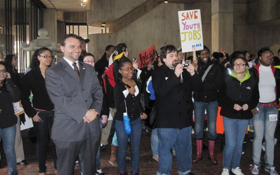 Hundreds of youth rallied at City Hall last month for City Councilor At-Large Felix Arroyo's hearing on city youth summer jobs. His office is fighting to reverse budget cuts that will cost thousands of summer jobs.