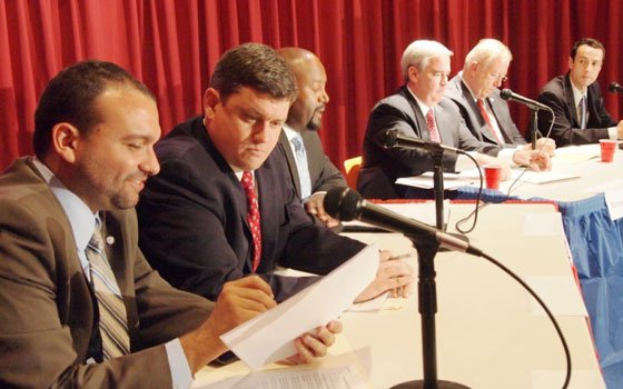 Candidates in this year's at large race spoke at last week's Ward 5 Democratic Committee meeting. Pictured (l to...