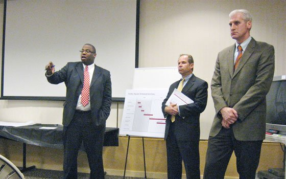At meeting, concerns are voiced on noise, traffic, air quality, jobsCity Councilor Tito Jackson speaks at a...