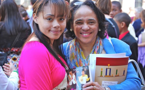 Boston Public Schools Superintendent Dr. Carol R. Johnson and her pen pal, Nelise Mendes, a...