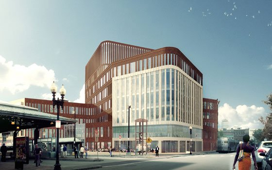 A rendering of the Warren Street corner of the new municipal building that will occupy the...
