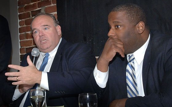 Boston City Councilor Tito Jackson (R) and state Democratic Party Chairman John E. Walsh participated in...