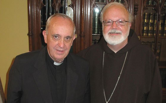 Cardinal Sean P. O'Malley meets with Cardinal Jorge Bergoglio at his residence in Buenos Aires, Argentina...