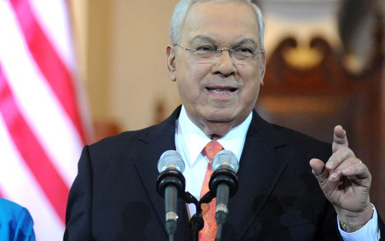 Mayor Thomas M. Menino, the longest serving mayor in Boston history, tells a packed crowd at...