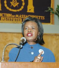 State Sen. Dianne Wilkerson speaks to constituents and supporters at the Prince Hall Grand Lodge in Grove Hall on Tuesday. Both Wilkerson and Sonia Chang-Diaz, who defeated the 15-year incumbent in the Sept. 16 state Democratic primary, requested recounts of vote totals in wards in the Second Suffolk District. City officials announced Tuesday that results in four wards — three in Roxbury, one in Jamaica Plain — will be recounted on Saturday.